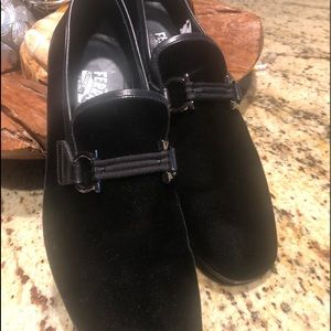Black Velvet tuxedo shoes; so clean, like new